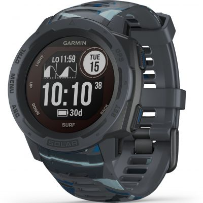Unisex Garmin Instinct Solar Surf Edition Solar Powered Bluetooth Smartwatch 010-02293-07