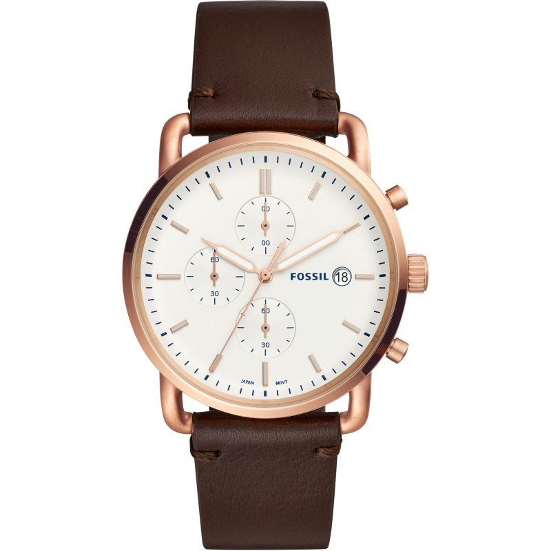 Fossil Commuter Chronograph Java Leather Watch FS5476