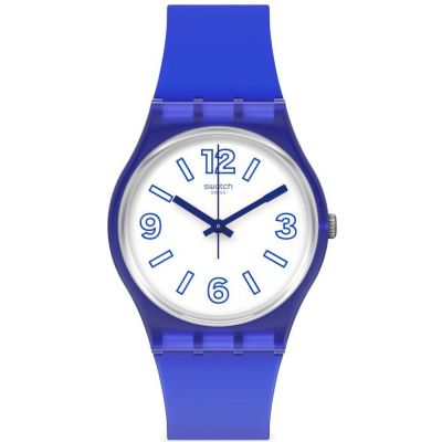 Swatch June Essentials Electric Shark Unisexuhr in Blau GN268