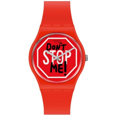 Swatch June Essentials Don't Stop Me Unisexuhr in Rot GR183