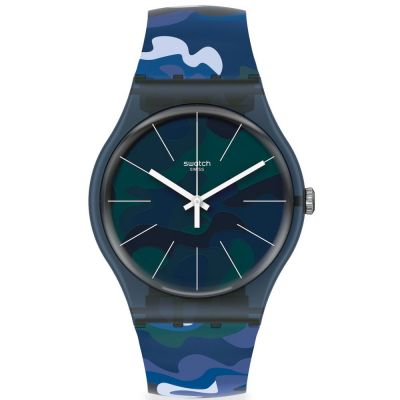 Swatch Camouclouds Unisexklocka Blå SUON140