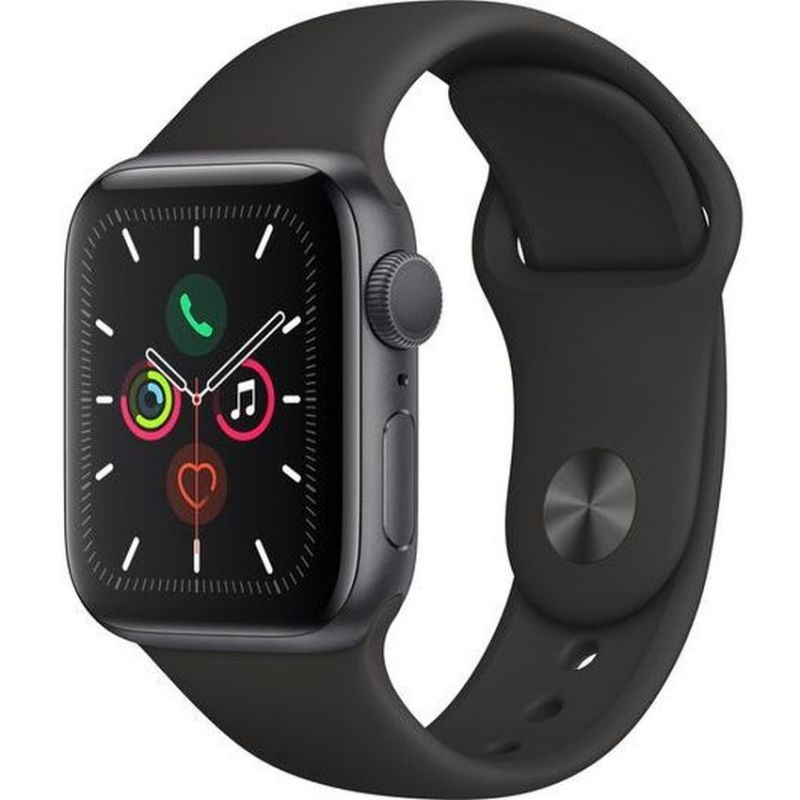 Apple Watch Series 5 GPS, 40mm Space Grey Aluminium Case with Black Sport Band MWV82B/A