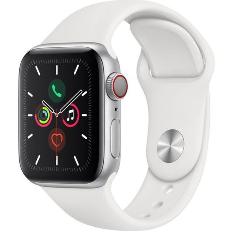 Apple Watch Series 5 GPS + Cellular, 44mm Silver Aluminium Case with White Sport Band MWWC2B/A