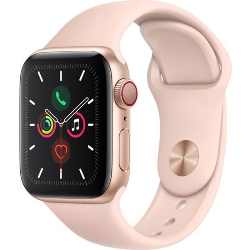 Apple Watch Series 5 GPS + Cellular, 44mm Gold Aluminium Case with Pink Sand Sport Band MWWD2B/A