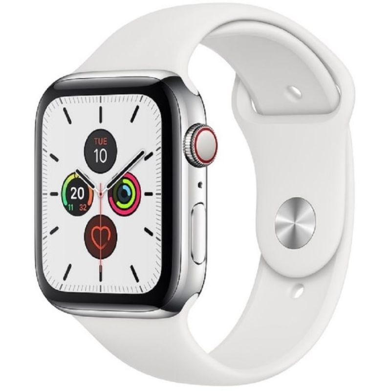 Apple Watch Series 5 GPS + Cellular, 44mm Stainless Steel Case with White Sport Band MWWF2B/A
