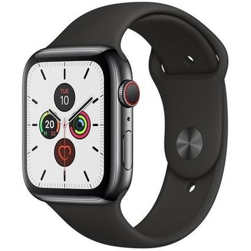 Apple Watch Series 5 GPS + Cellular, 44mm Space Black Stainless Steel Case with Black Sport Band MWWK2B/A