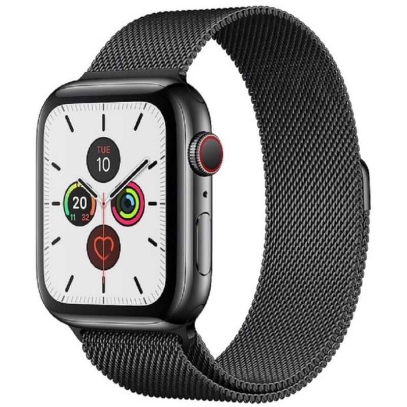 Apple Watch Series 5 GPS + Cellular, 44mm Space Black Stainless Steel Case with Space Black Milanese Loop MWWL2B/A