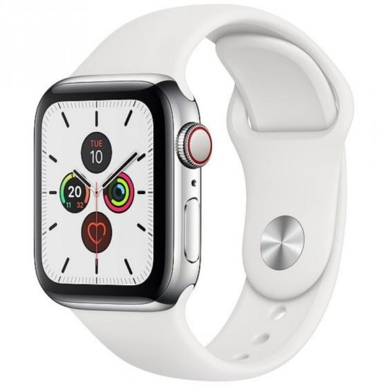 Apple Watch Series 5 GPS + Cellular, 40mm Stainless Steel Case with White Sport Band MWX42B/A