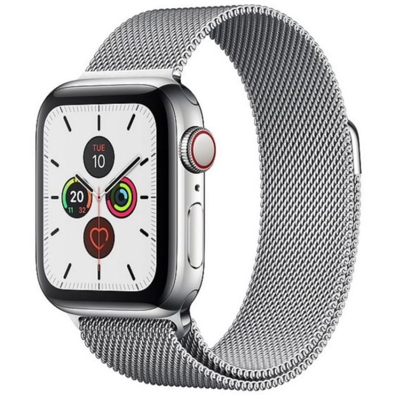 Apple Watch Series 5 GPS + Cellular, 40mm Stainless Steel Case with Stainless Steel Milanese Loop MWX52B/A