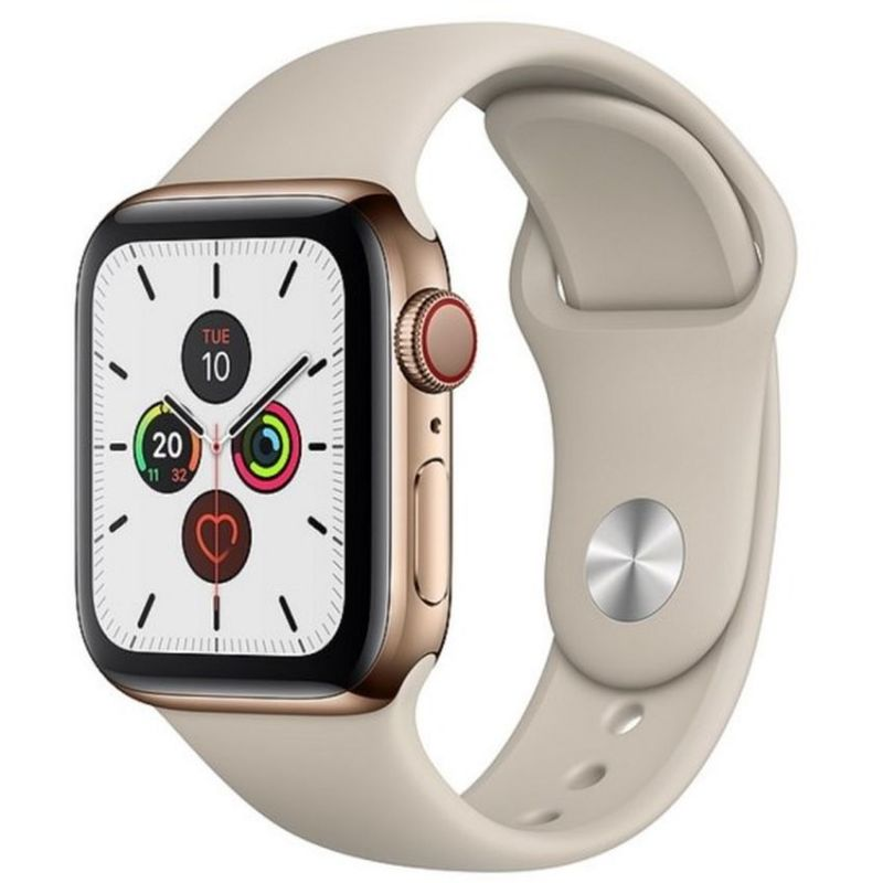 Apple Watch Series 5 GPS + Cellular, 40mm Gold Stainless Steel Case with Stone Sport Band MWX62B/A