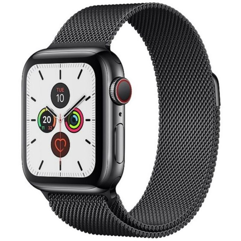 Apple Watch Series 5 GPS + Cellular, 40mm Space Black Stainless Steel Case with Space Black Milanese Loop MWX92B/A