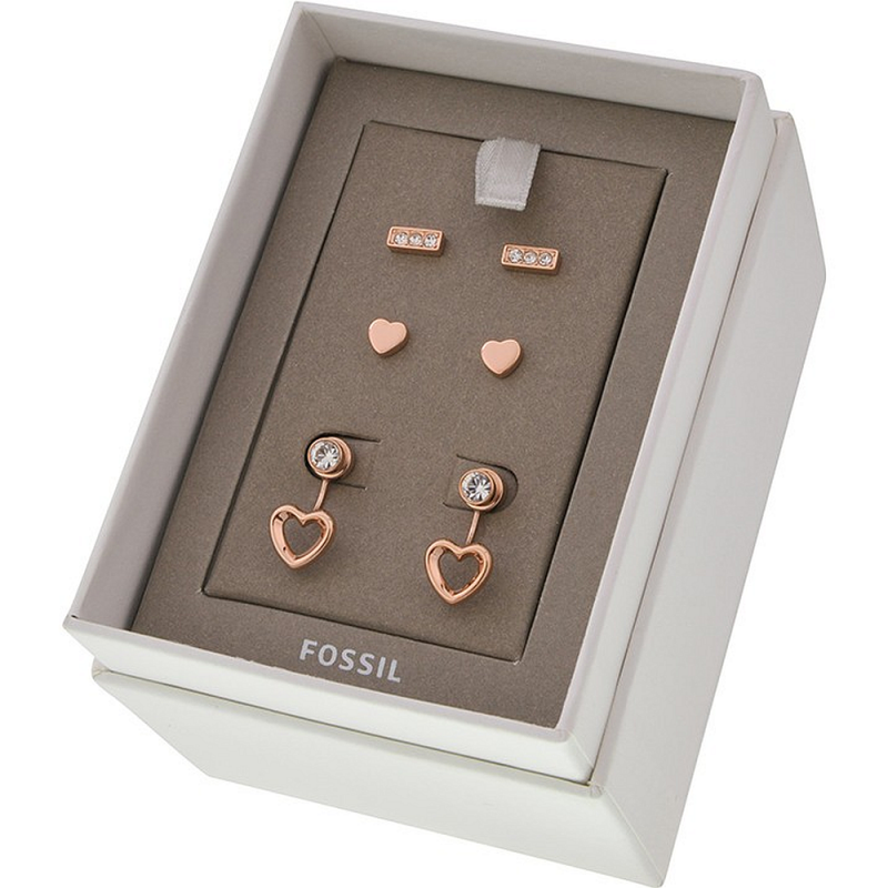Ladies Fossil Jewellery Rose Gold Earrings Gift Set JGFTSET1011