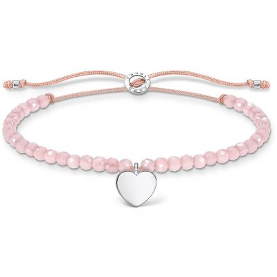 THOMAS SABO Dam Silver Heart Rose Quartz Beaded Tie Bracelet Sterlingsilver A1985-813-9-L20V