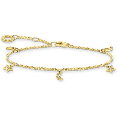 THOMAS SABO Dam Yellow Gold Star & Moon Bracelet Sterlingsilver A1994-414-14-L19V