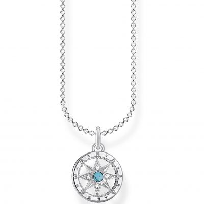 THOMAS SABO Dam Silver Compass Necklace 45cm Sterlingsilver KE2062-405-17-L45V