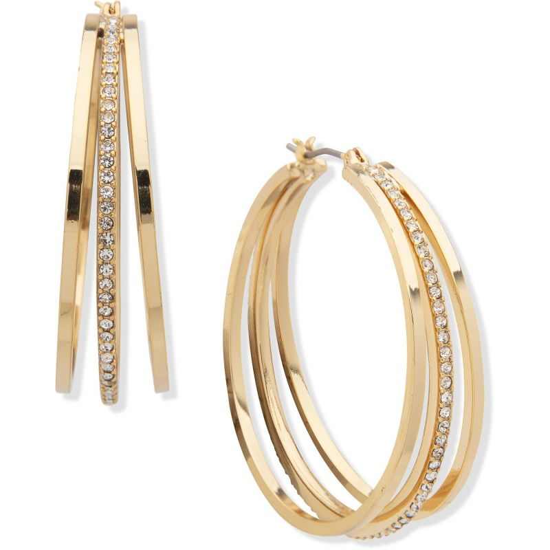 DKNY Jewellery Gold Coloured 40mm 3 Row Pave Hoop Earrings 60558346-887