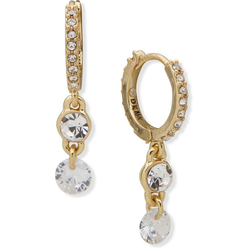DKNY Jewellery Gold Coloured CZ Huggie Drop Earrings 60558324-887
