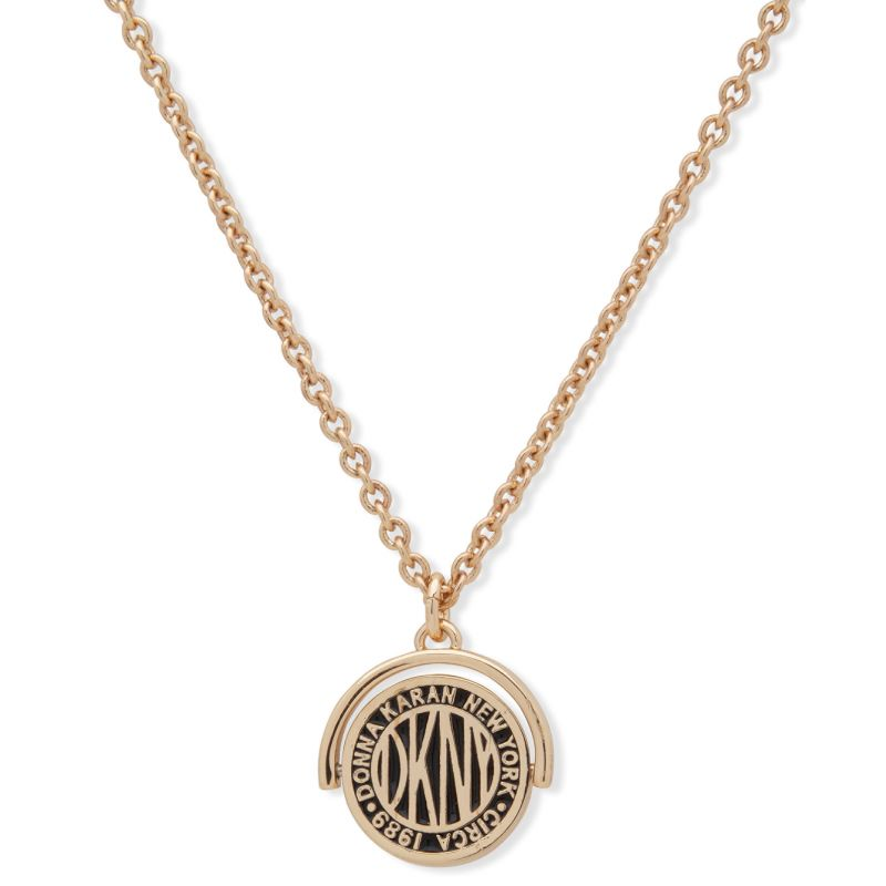 DKNY Jewellery Gold Coloured Logo Coin Pendant 16