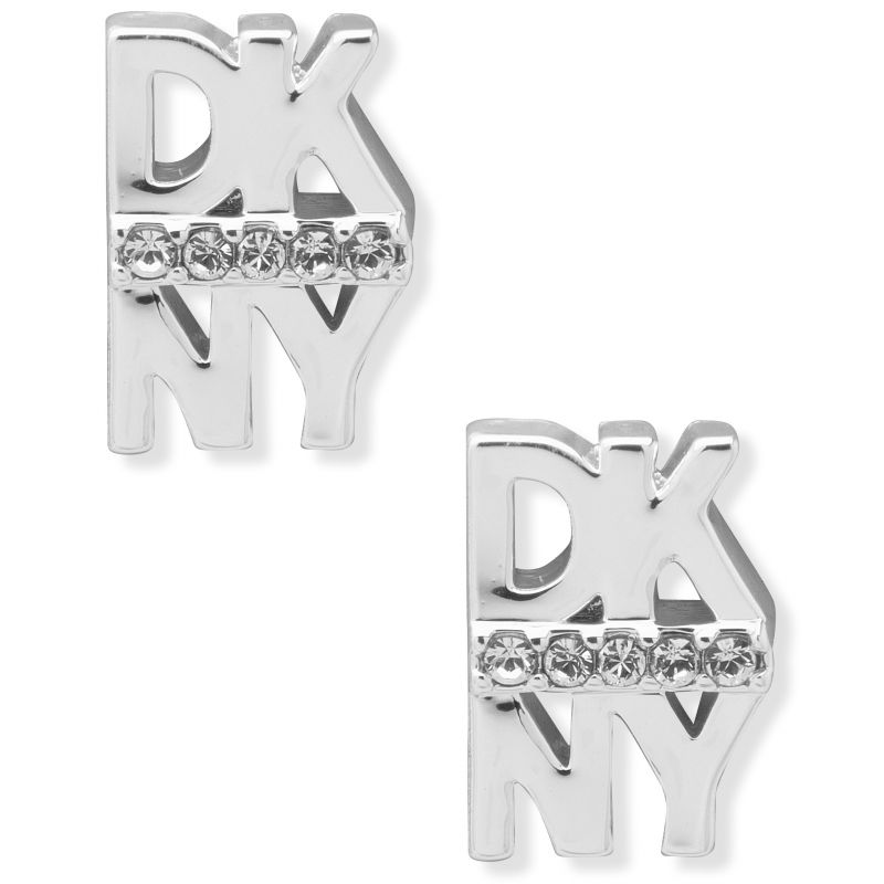 DKNY Jewellery Silver Coloured Pave Logo Button Earrings 60559679-G03