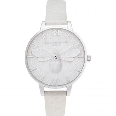 Olivia Burton Demi Dial Pearl Bee, Shimmer Pearl & Silver Dameshorloge White mother of pearl OB16FB20