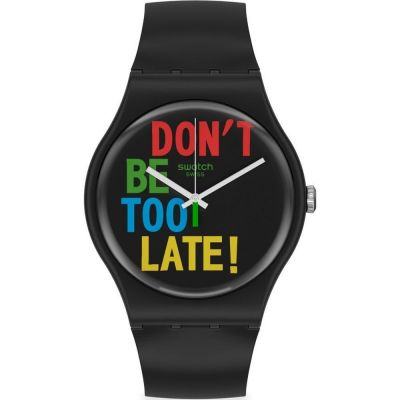 Swatch 1983 Timefortime Unisexuhr in Schwarz SO29B100