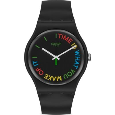 Swatch 1983 Freetid Unisexuhr in Schwarz SO29B103
