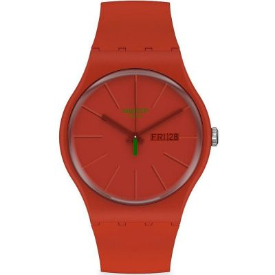 Swatch 1983 Redvremya Unisexuhr in Rot SO29R700