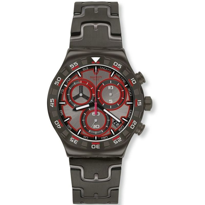 Mens Swatch Crazy Drive Chronograph Watch YVM406G