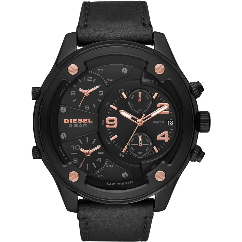 Mens Diesel Boltdown Black Chronograph Watch DZ7428