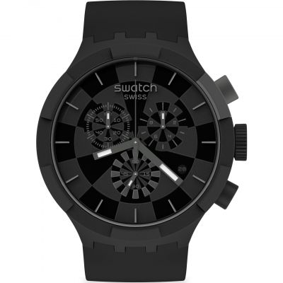 Swatch Big Bold Checkpoint Black Herrenchronograph in Schwarz SB02B400