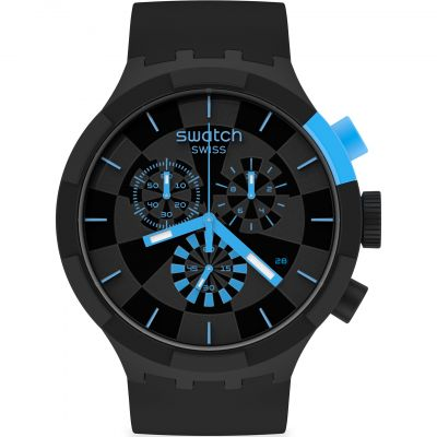 Swatch Big Bold Checkpoint Blue Herrenchronograph in Schwarz SB02B401