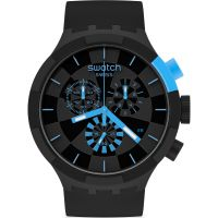 Mens Swatch Checkpoint Blue Chronograph Watch SB02B401