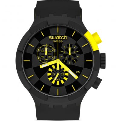 Swatch Big Bold Checkpoint Yellow Herrenchronograph in Schwarz SB02B403