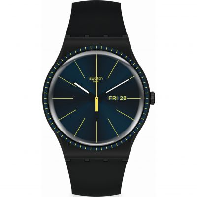 Swatch Essentials Black Rails Herrenuhr in Schwarz SUOB731