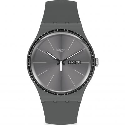 Swatch Essentials Grey Rails Herrenuhr in Grau SUOM709