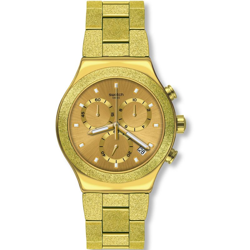 Mens Swatch Irony Goldshiny Chronograph Watch YVG407G