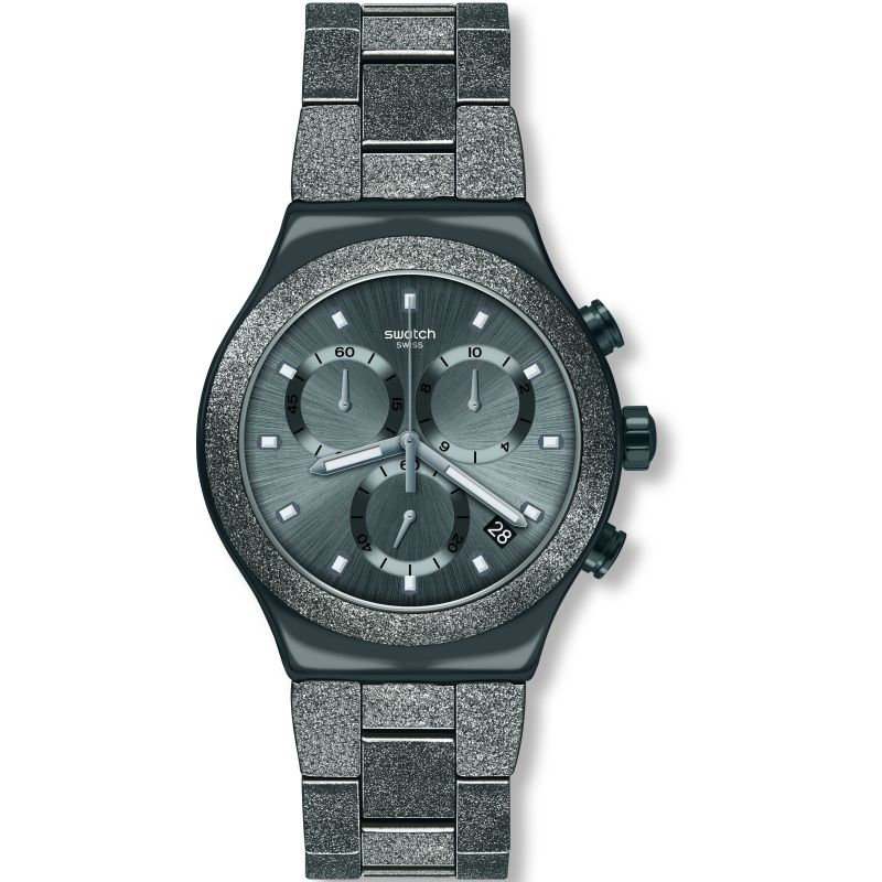 Mens Swatch Irony Blackshiny Chronograph Watch YVM405G