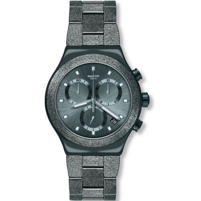 Swatch Irony Chrono Irony Blackshiny Herrenchronograph in Schwarz YVM405G