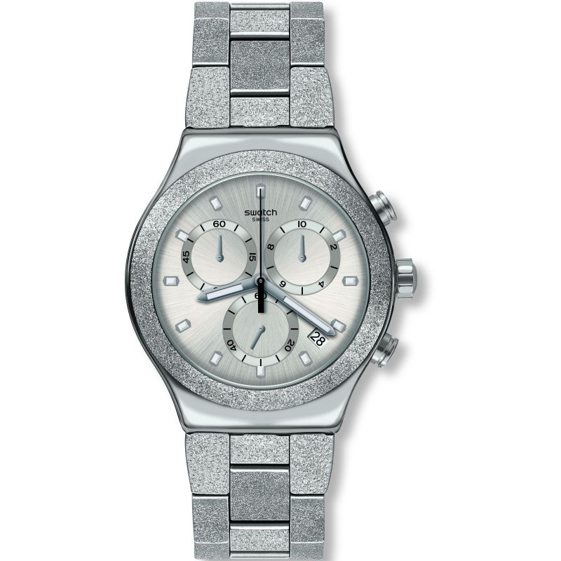 Mens Swatch Silver Explosion Chronograph Watch YVS472G