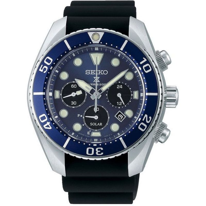 Mens Seiko Chronograph Solar Powered Watch SSC759J1