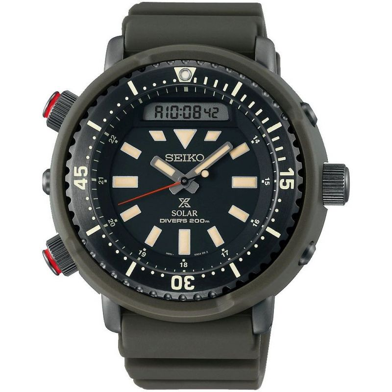 Mens Seiko Chronograph Solar Powered Watch SNJ031P1