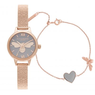 Olivia Burton Mini Lucky Bee Damklocka Rose Gold OBGSET148