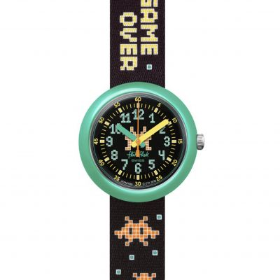 Flik Flak Imagination Time Invader Kinderuhr in Schwarz FPNP069