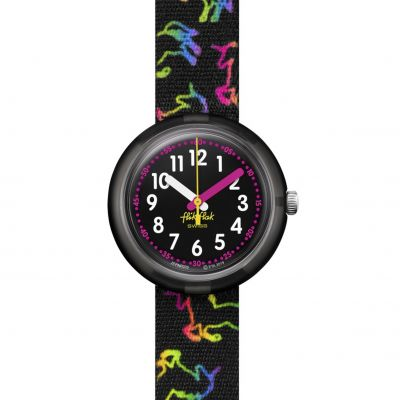 Flik Flak Imagination Disco Unicorn Kinderuhr in Schwarz FPNP070