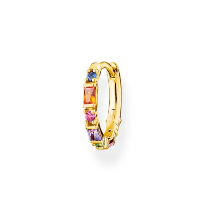 Joyería para Mujer THOMAS SABO Jewellery Rainbow Baguette Yellow Gold Single Hoop Earring CR666-488-7