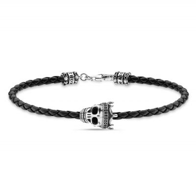 THOMAS SABO Dam Skull King Braided Leather Bracelet Sterlingsilver A2014-805-11-L19
