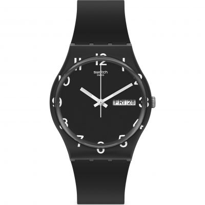 Swatch Original Gent Over Black Unisexuhr in Schwarz GB757