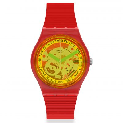 Swatch Original Gent Retro-Rosso Unisexuhr in Rot GR185