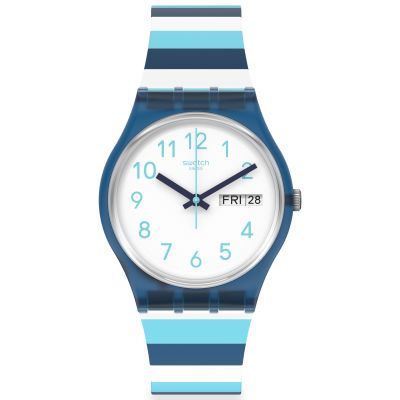Swatch Original Gent Striped Waves Unisexuhr in Blau GN728