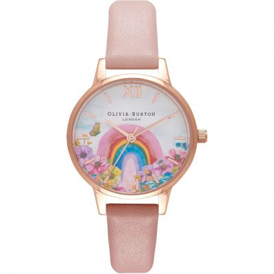Olivia Burton Midi Dusty Pink and Rose Gold Rainbow Print Dial Damklocka Rosa OB16RB29